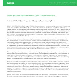 Calico Appoints Daphne Koller as Chief Computing Officer (August 2016)
