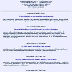 APPORT DES NOUVELLES T.I.C.