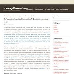 13 – Qu'apportent les digital humanities ? Quelques exemples (1/2)
