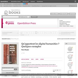 Read/Write Book 2 - Qu'apportent les digital humanities ? Quelques exemples