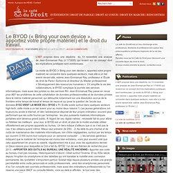 Le BYOD (« Bring your own device », apportez votre propre matériel) et le droit du travail.