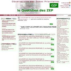 """"""" QUELS SONT LES APPORTS DE L'EDUCATION PRIORITAIRE"""" ? (2016)"""