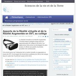 Apports de la Réalité virtuelle et de la Réalité Augmentée en SVT, au collège