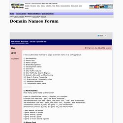 Self Domain Appraisal – The do it yourself test Domain Names forum at WebmasterWorld