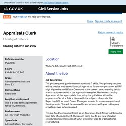 Appraisals Clerk - Civil Service Jobs - GOV.UK