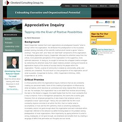 Appreciative Inquiry: Tapping into the River of Positive Possibilities | Cleveland Consulting Group, Inc.