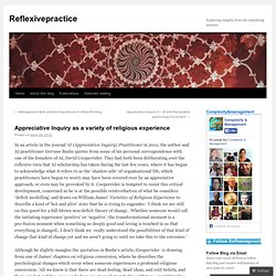 Appreciative Inquiry as a variety of religious experience « Reflexivepractice