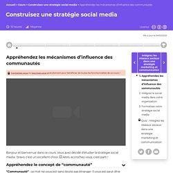 Appréhendez les mécanismes d'influence des communautés - Construisez une stratégie social media