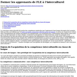 Former les apprenants de FLE à l'interculturel