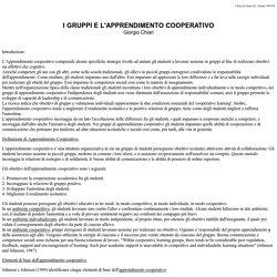 I gruppi e l'apprendimento cooperativo
