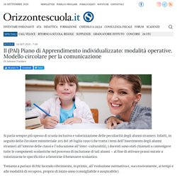 Il (PAI) Piano di Apprendimento individualizzato: modalità operative. Modello circolare per la comunicazione - Orizzonte Scuola Notizie