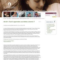 AA 34 : Faut-il apprendre aux bébés à dormir ?