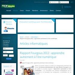 Rapport Fourgous 2012 : apprendre autrement à l'ère numérique