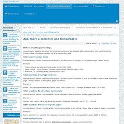 Présenter une bibliographie (normes simplifiées pour des collégiens)