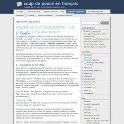 » Apprendre à apprendre - coup de pouce en français