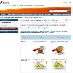 En apprendre davantage sur la taille des portions - Santé Ontario