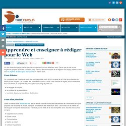 Apprendre et enseigner à rédiger pour le Web