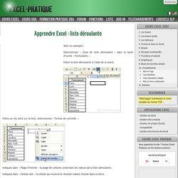 Apprendre Excel : liste déroulante