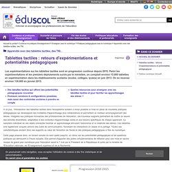 Apprentissages et supports numériques - Retour des expérimentations tablettes tactiles