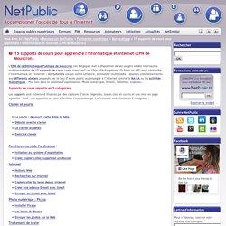 15 supports de cours pour apprendre l'informatique et Internet (EPN de Mouscron)