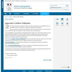 Apprendre à utiliser Wikipedia-Histoire-géographie-Éduscol