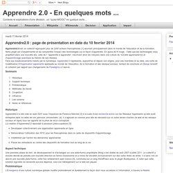 Apprendre 2.0 - En quelques mots ...: Apprendre2.0 : page de présentation en date du 10 fevrier 2014