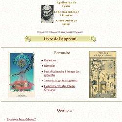 Livre de l'Apprenti Loge maçonnique Apollonius de Tyane