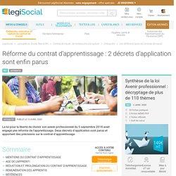 Réforme du contrat d'apprentissage : 2 décrets d'application sont enfin parus LégiSocial