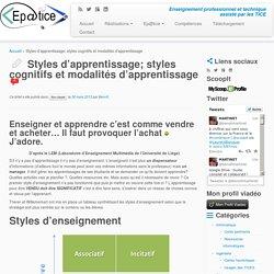 Styles d'apprentissage; styles cognitifs et modalités d'apprentissage