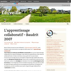 L'apprentissage collaboratif – Baudrit 2007
