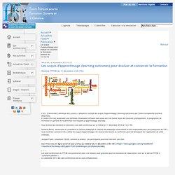 Les acquis d'apprentissage pour évaluer et concevoir la formation - webinar du 11/12/12