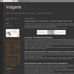 """Vulgaris: Apprentissage et Co-construction : un """"axe de réflexion"""" pour la CST"""