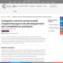 Instagram comme communauté d'apprentissage et de développement des compétences pratiques