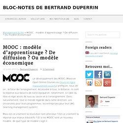 MOOC : modèle d'apprentissage ? De diffusion ? Ou modèle économique