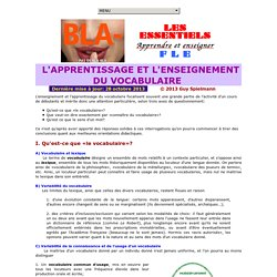 L'Apprentissage et l'enseignement du vocabulaire  / Guy Spielmann