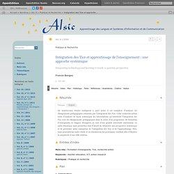 Intégration des Tice et apprentissage de l'enseignement: une approche systémique