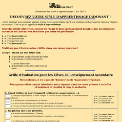 Test ISALEM Style d'apprentissage - enseignement secondaire