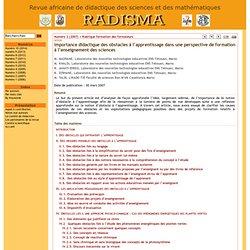 Importance didactique des obstacles à l'apprentissage dans une perspective de formation à l'enseignement des sciences - RADISMA