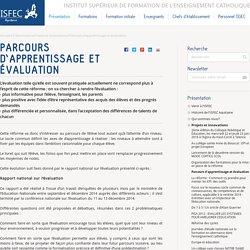Parcours d'apprentissage et évaluation — ISFEC Aquitaine