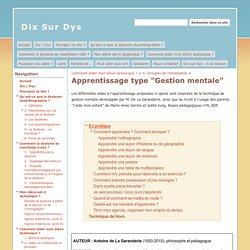 """Apprentissage type """"Gestion mentale"""" - Dix Sur Dys"""