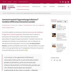Comment soutenir l'apprentissage à distance ? Combiner différentes interactions sociales – Louvain Learning Lab