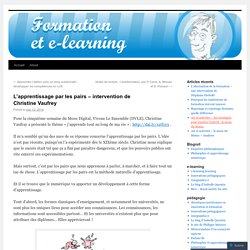 L'apprentissage par les pairs – intervention de Christine Vaufrey