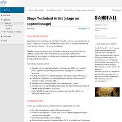 Internship offer Technical Artist (stage ou apprentissage) - Montpellier (34) - Sandfall Interactive (January 2021)