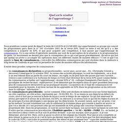- EPS - A propos de pédagogie - Apprentissage moteur et motivation - Conférence JP Famose - Résultat de l'apprentissage -