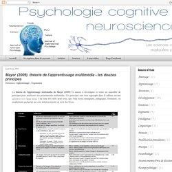 Mayer (2009). théorie de l'apprentissage multimédia - les douzes principes