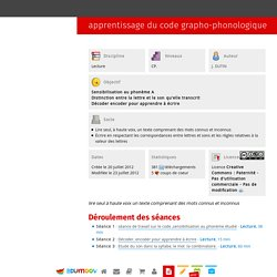 apprentissage du code grapho-phonologique