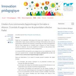 Création d'une communauté d'apprentissage en formation à distance : 5 constats d'usages du mur de présentation collective Padlet
