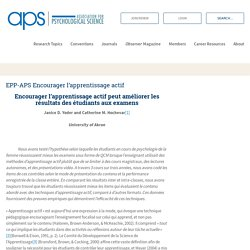 EPP-APS Encourager l'apprentissage actif – Association for Psychological Science