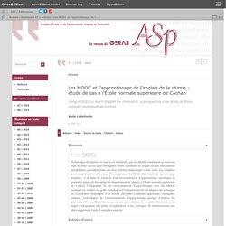 Les MOOC et l'apprentissage de l'anglais de la chimie: étude de cas à l'École normale supérieure de Cachan