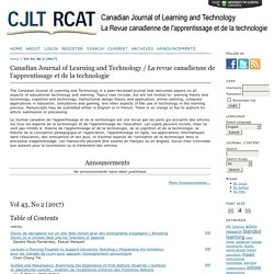 Canadian Journal of Learning and Technology / La revue canadienne de l'apprentissage et de la technologie